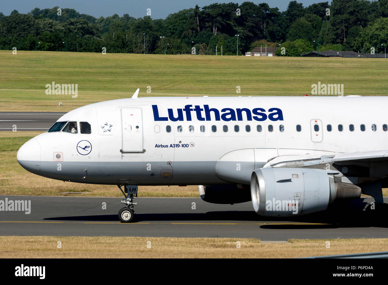 Lufthansa Airbus A319-114 taxiing for take off at Birmingham Airport, UK (D-AILH) - Stock Image