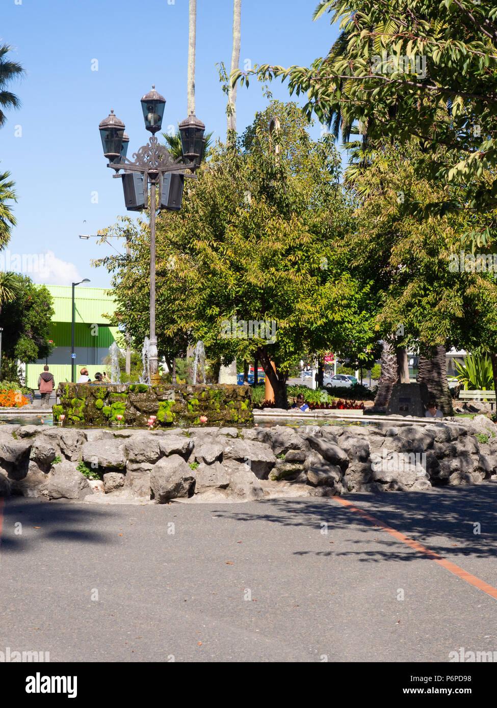 Garden Lights In Clive Square Garden In Napier - Stock Image