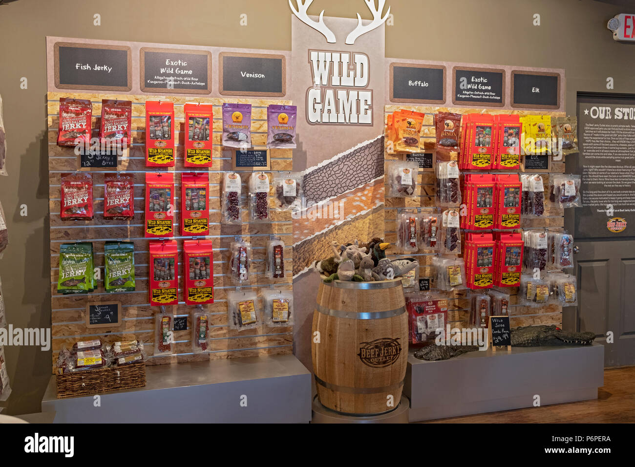 A Selection Of Wild Game Flavors Of Beef Jerky For Sale At