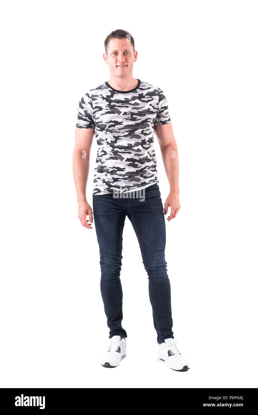 Young adult man in street style sport casual clothes ...