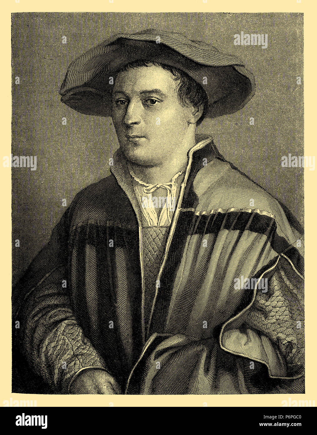 Hans Holbein the Younger. After the self-portrait engraved by Friedrich Weber, Hans Holbein der Jüngere - Stock Image