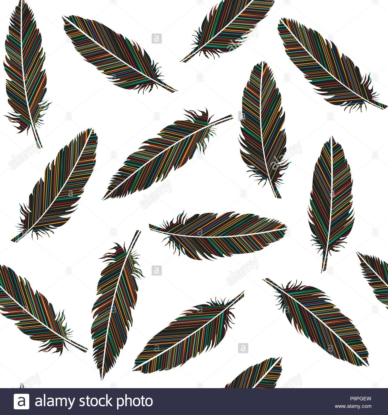 Birds feathers seamless. Feathers with colored lines pattern - Stock Image