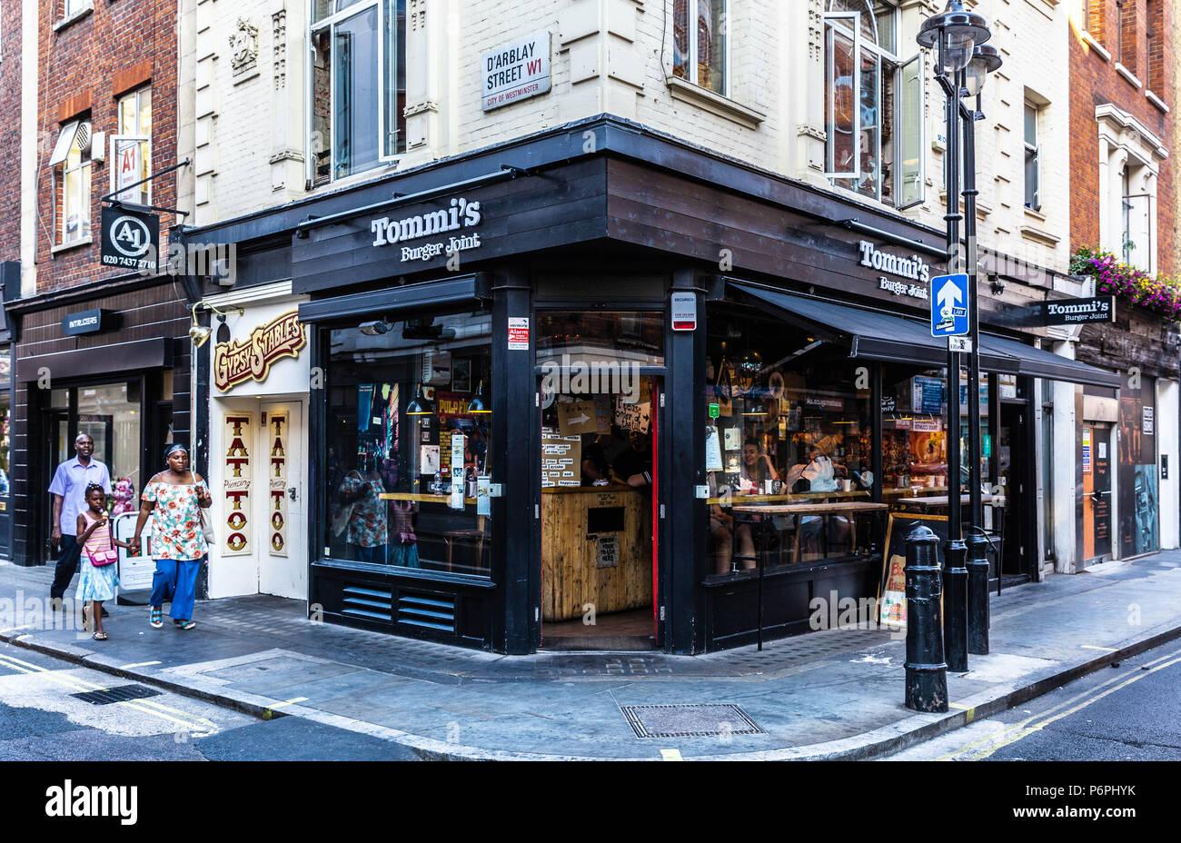Tommi's Burger Joint, on the corner of D'Arblay Street and Wardour Street, Soho, London, W1, England, UK. - Stock Image