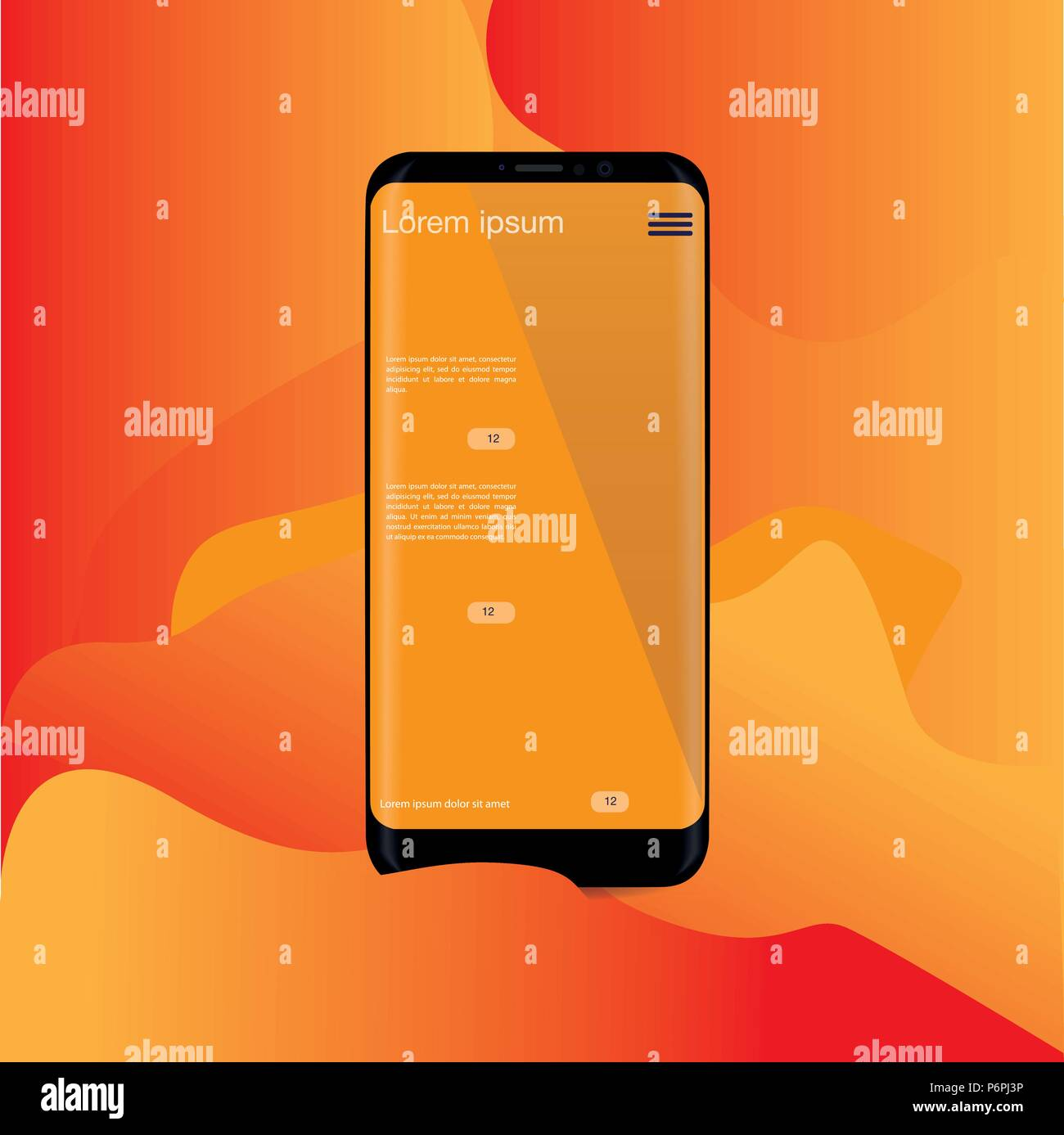 Abstract Background Wallpaper Yellow Orange Application On Smartphone Vector