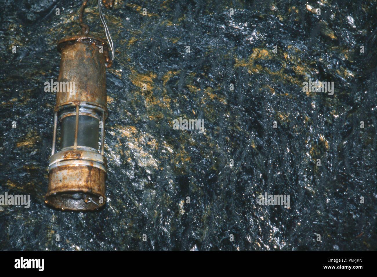 Coal miner's lamp in tunnel, Pioneer Coal Mine, Ashland, Pennsylvania. Photograph Stock Photo