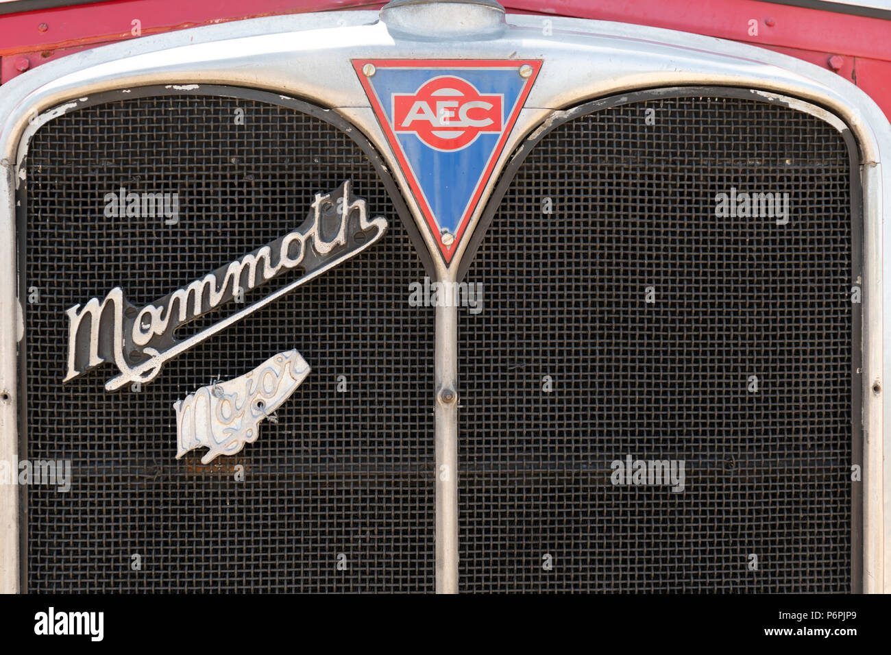 Logos on front of AEC Mammoth Major 6 Mk111 - Stock Image