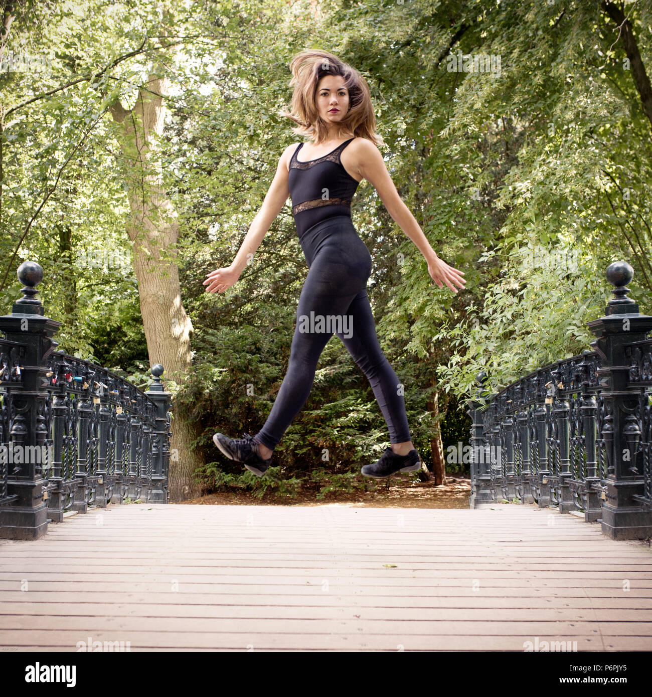 Young woman dancer performing at Vondelpark,Amsterdam,Holland - Stock Image