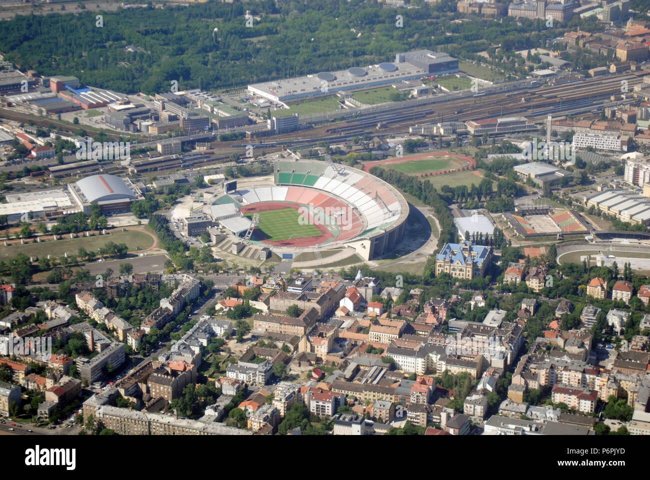 A bird's-eye view of the old Hungarian national stadium, named after Hungary's most successful football players of all times, Ferenc Puskás. - Stock Image