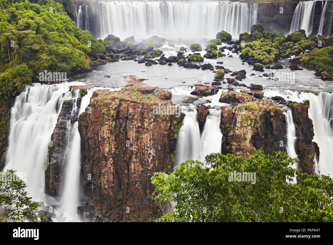 Iguassu Falls, the largest series of waterfalls of the world, located at the Brazilian and Argentinian border, View from Brazilian side - Stock Image
