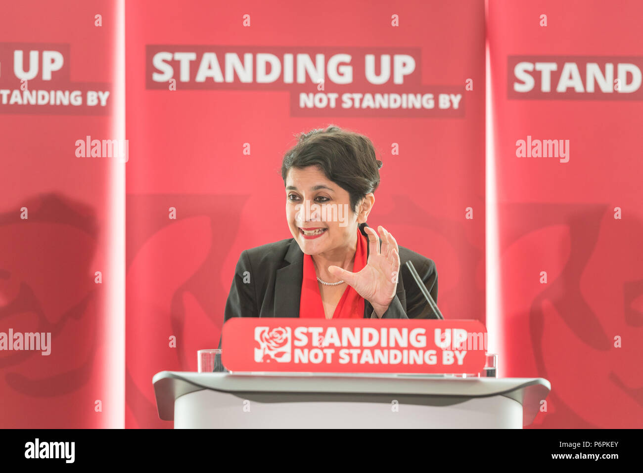 2 Savoy Place, London, UK. 30th June 2016. Jeremy Corbyn delivers a speech on Labour Party anti-Semitism inquiry findings. Inquiry chair Shami Chakrab - Stock Image