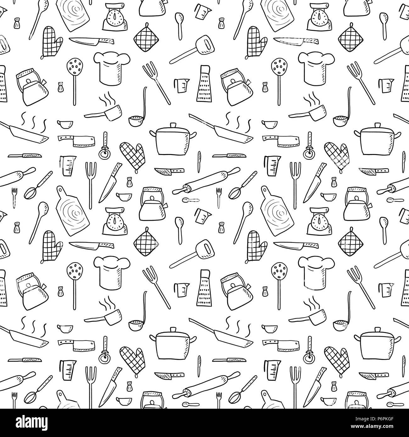 kitchen utensils background retro kitchen cooking utensils and kitchen tools seamless background doodle vector