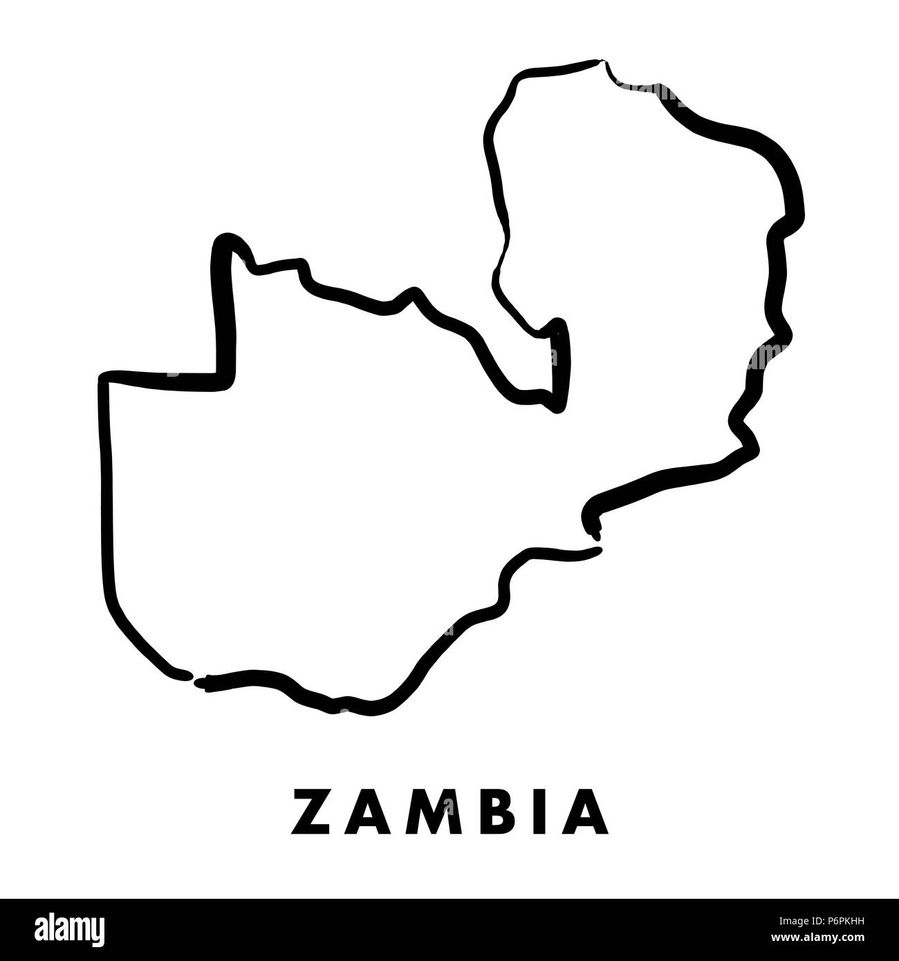 Zambian Map Vector.Zambia Simple Map Outline Smooth Simplified Country Shape