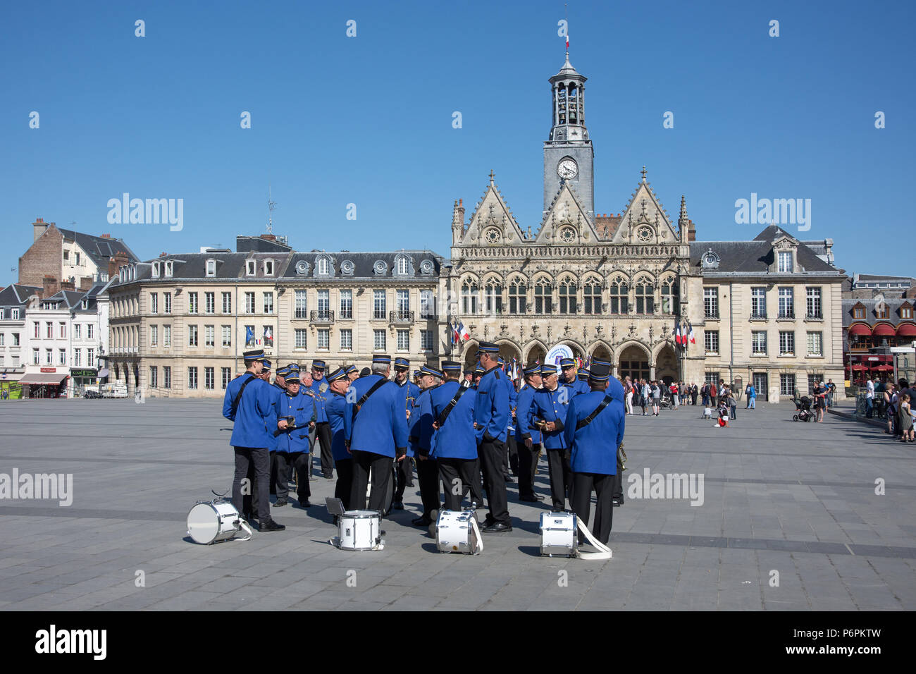 Band members assembled in Place de l' Hotel de Ville St Quentn Aisne France for parade on Victory in Europe day on 8th May 2018 Stock Photo