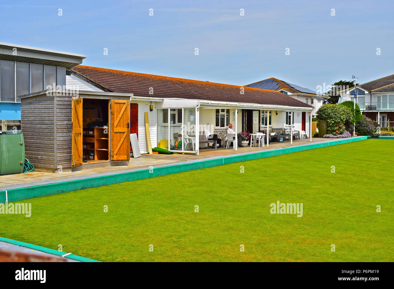 Milford on Sea Bowls Clubhouse in the Summer sunshine. Hampshire - Stock Image