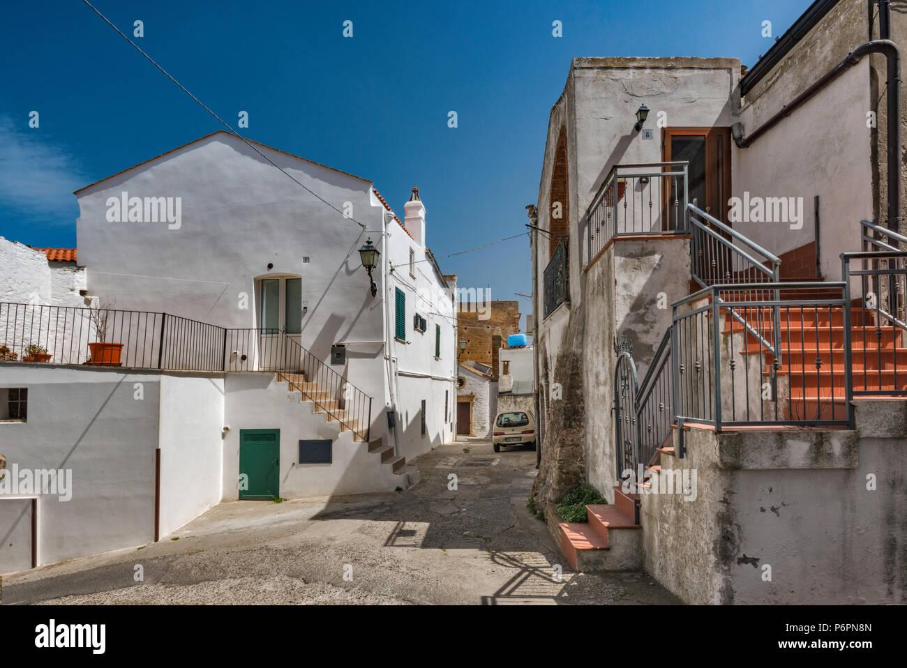 Street at Terravecchia hill, Pisticci, Basilicata, Italy - Stock Image