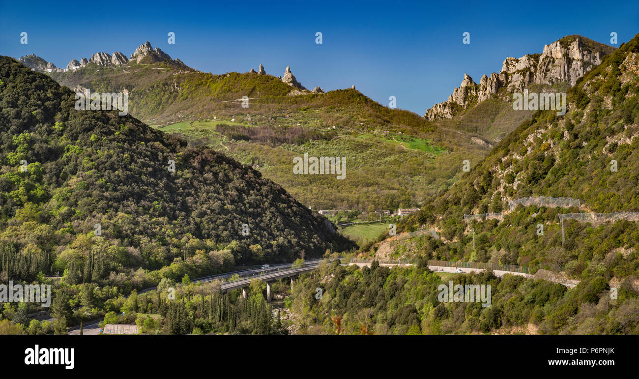 Dolomiti Lucane range in Lucanian Apennines, view over Basento Valley from road to Campomaggiore, Basilicata, Italy Stock Photo