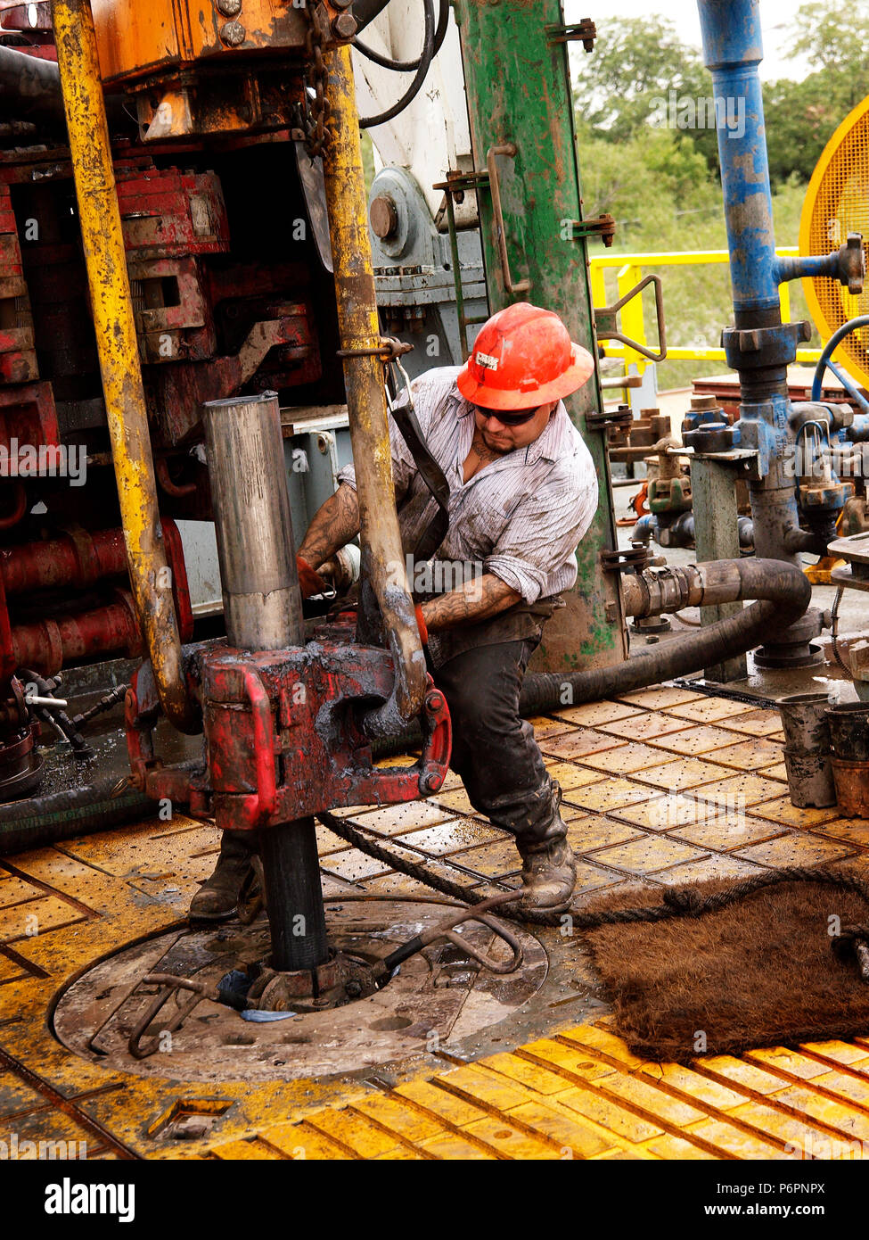High Pressure fracturing and horizontal drilling in north Texas, Barnett Shale Field,started the petroleum industry success that has made the United States a leader in oil and natural gas. - Stock Image