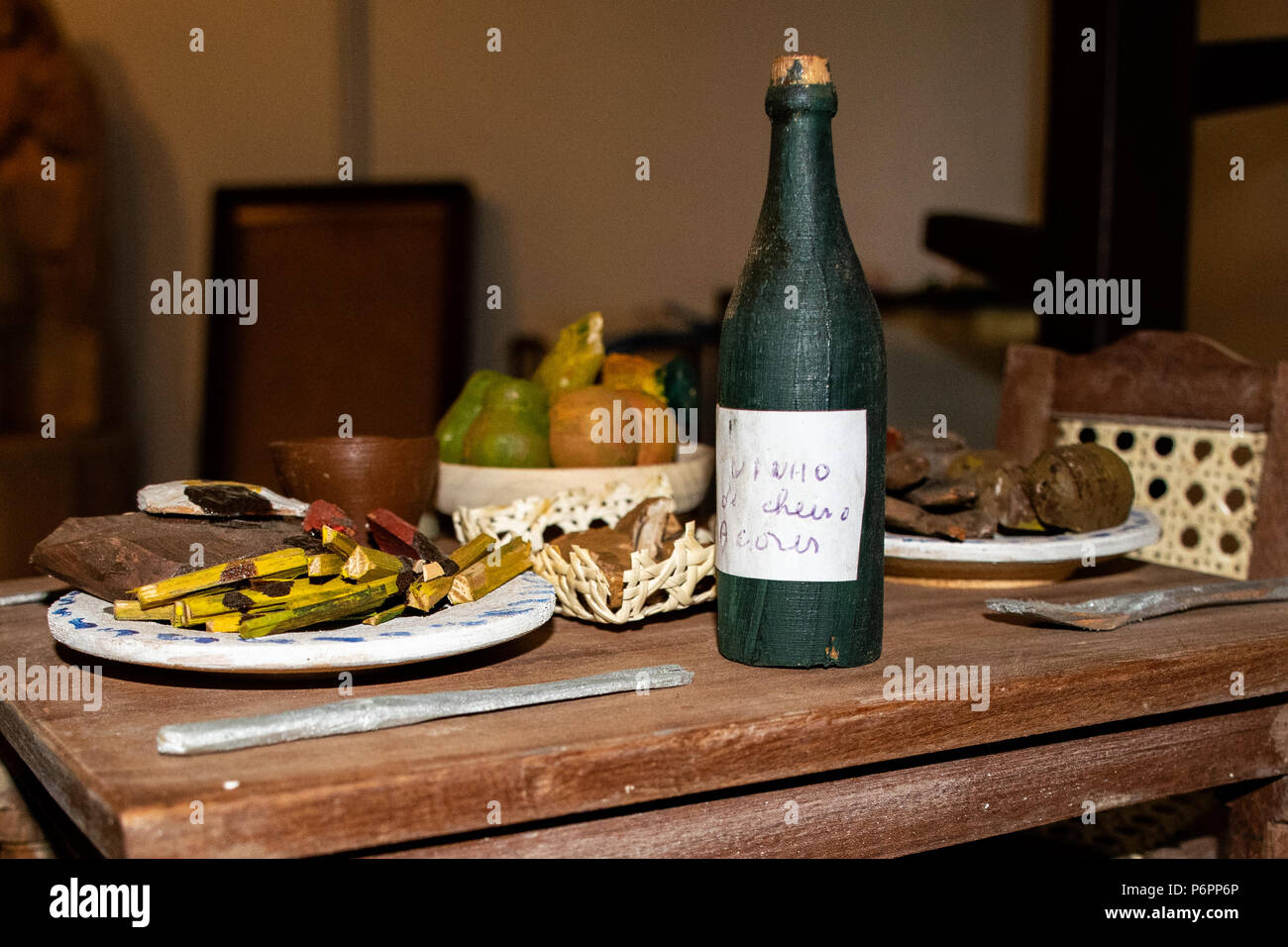 Miniature wooden dinner table - Stock Image