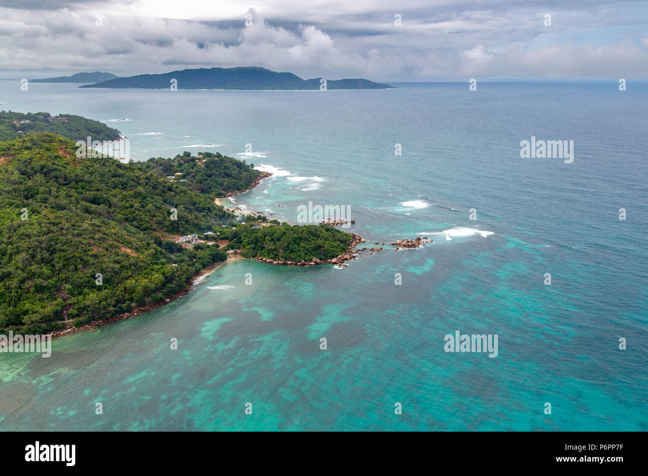 Aerial view of the Anse Consolation on Praslin, Seychelles in the Indian Ocean. - Stock Image