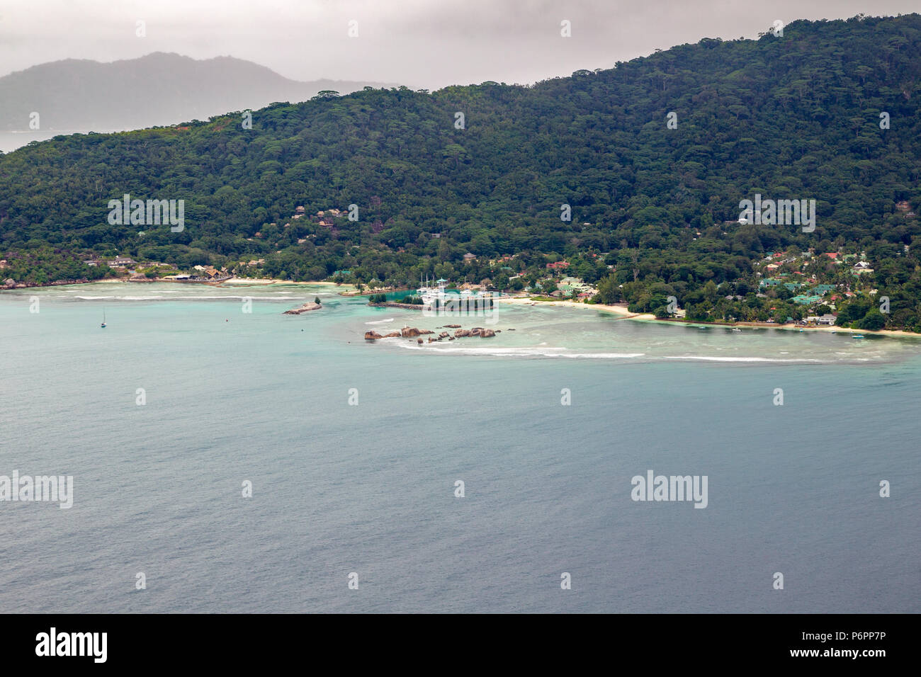 Aerial view of the marina of La Digue, Seychelles in the Indian Ocean. - Stock Image
