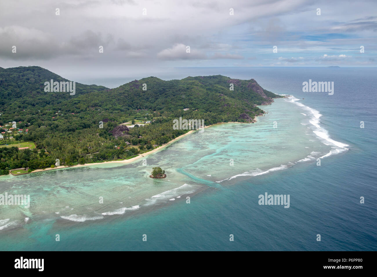 Aerial view of La Digue, Seychelles in the Indian Ocean. - Stock Image