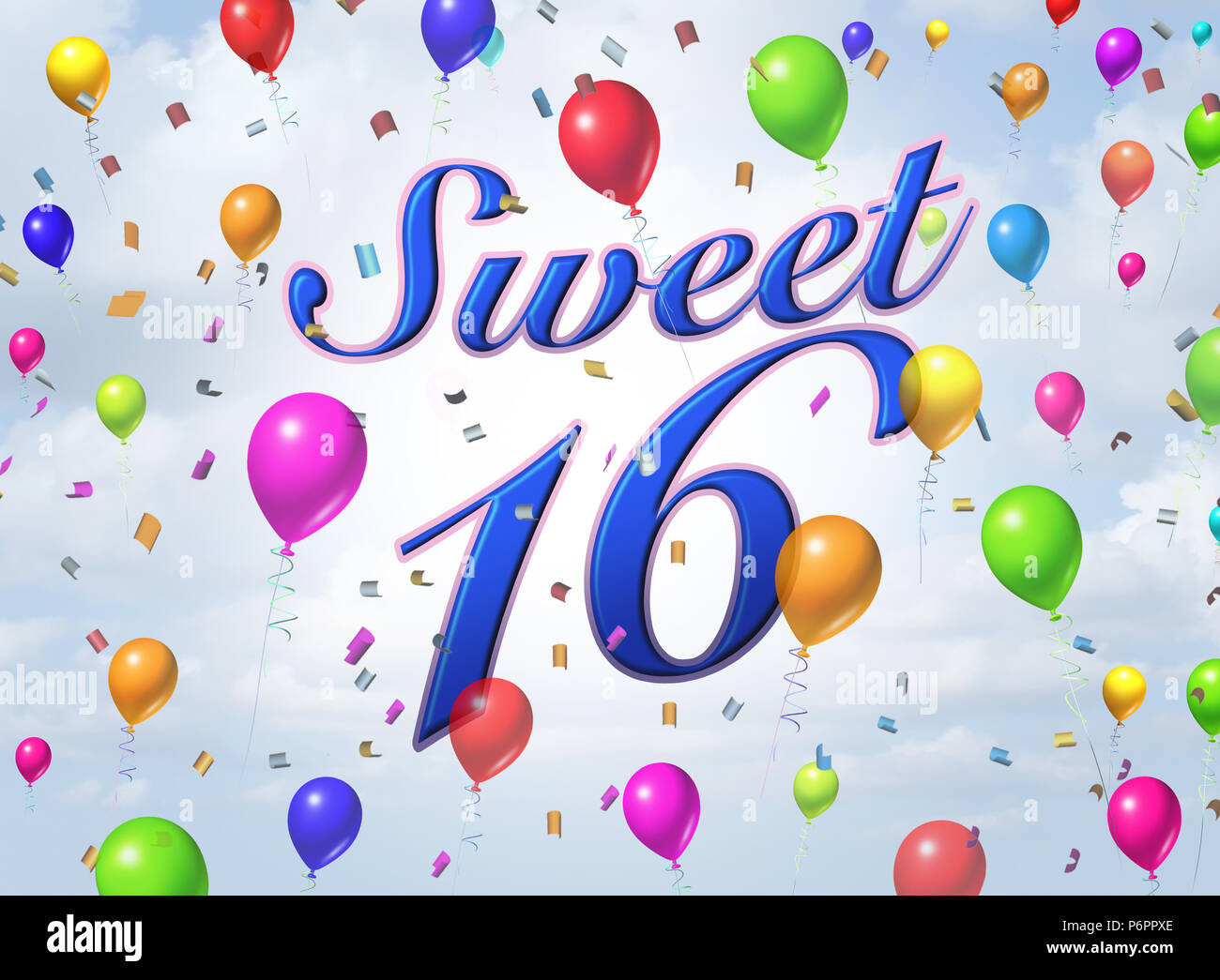 Sweet sixteen teenager celebration greeting card design with sweet sixteen teenager celebration greeting card design with confetti and balloons as a 3d render m4hsunfo