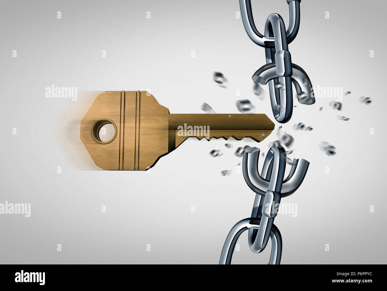 Breaking the chain and an unlock concept as a key breaking metal links as a security  and business success icon as a 3D render. - Stock Image