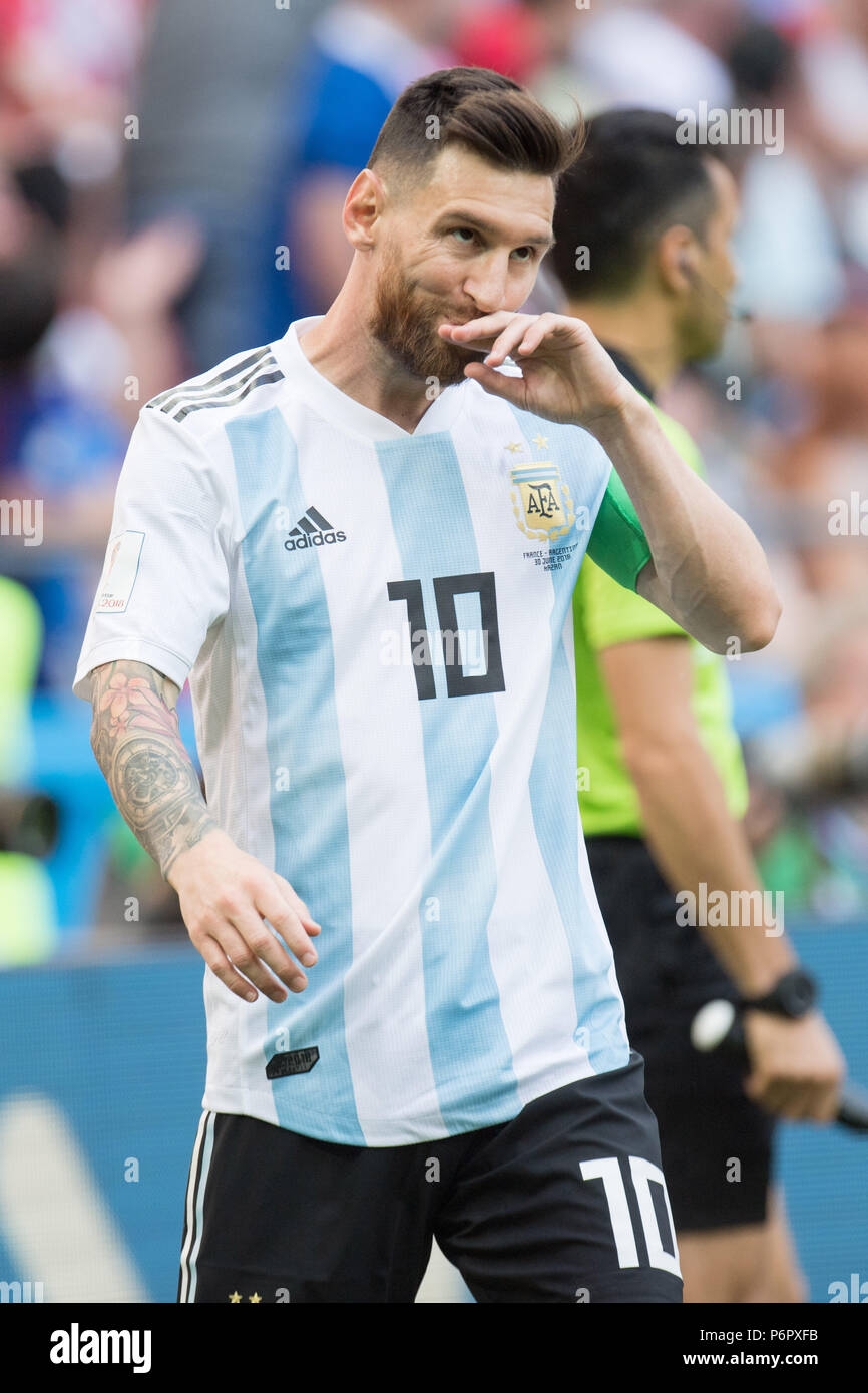 Kazan Russland 30th June 2018 Lionel Messi Arg Is Frustrated Frustrated Late Rate Half Figure Half Figure Portrait France Fra Argentina Arg 4 3 Round Of 16 Game 50 On 30 06 2018 In