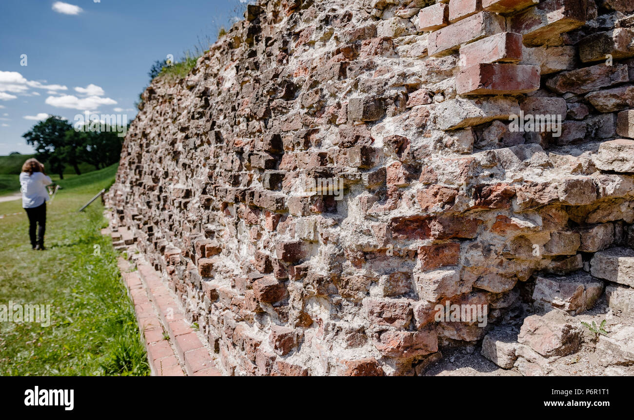 Dannewerk, Deutschland. 01st July, 2018. 01.07.2018, Schleswig-Holstein: View of an uncovered part of the medieval defense facility Danewerk. This was on 30.06.2018, as well as the Viking settlement Haitabu, by UNESCO in the list of World Heritage listed. Credit: Markus Scholz/dpa | usage worldwide/dpa/Alamy Live News - Stock Image