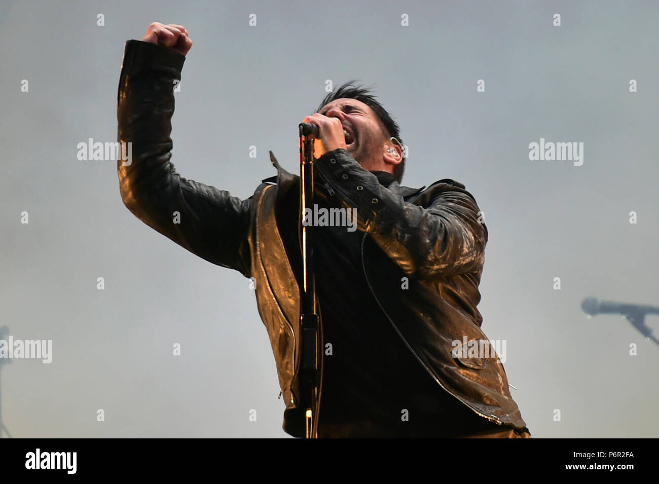 Panensky Tynec Czech Republic 30th June 2018 Nine Inch Nails Sweater Nin Group With Singer Trent Reznor Perform At Concert On The Third Day Of Aerodrome Festival In Friday