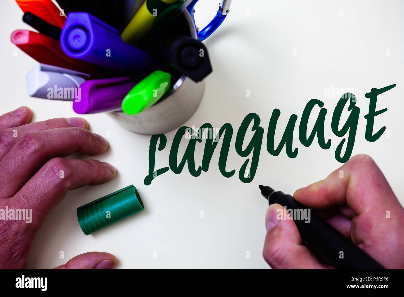 Word writing text Language. Business concept for Method of human communication Spoken Written Use Words Expression Artist study library colourful pen  - Stock Image