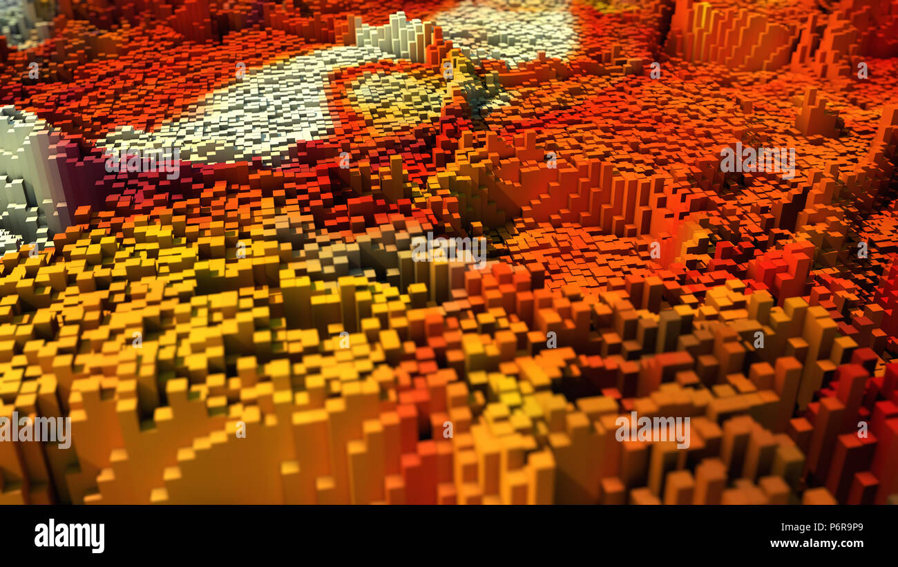 3d rendering. Abstract topography and colors Stock Photo