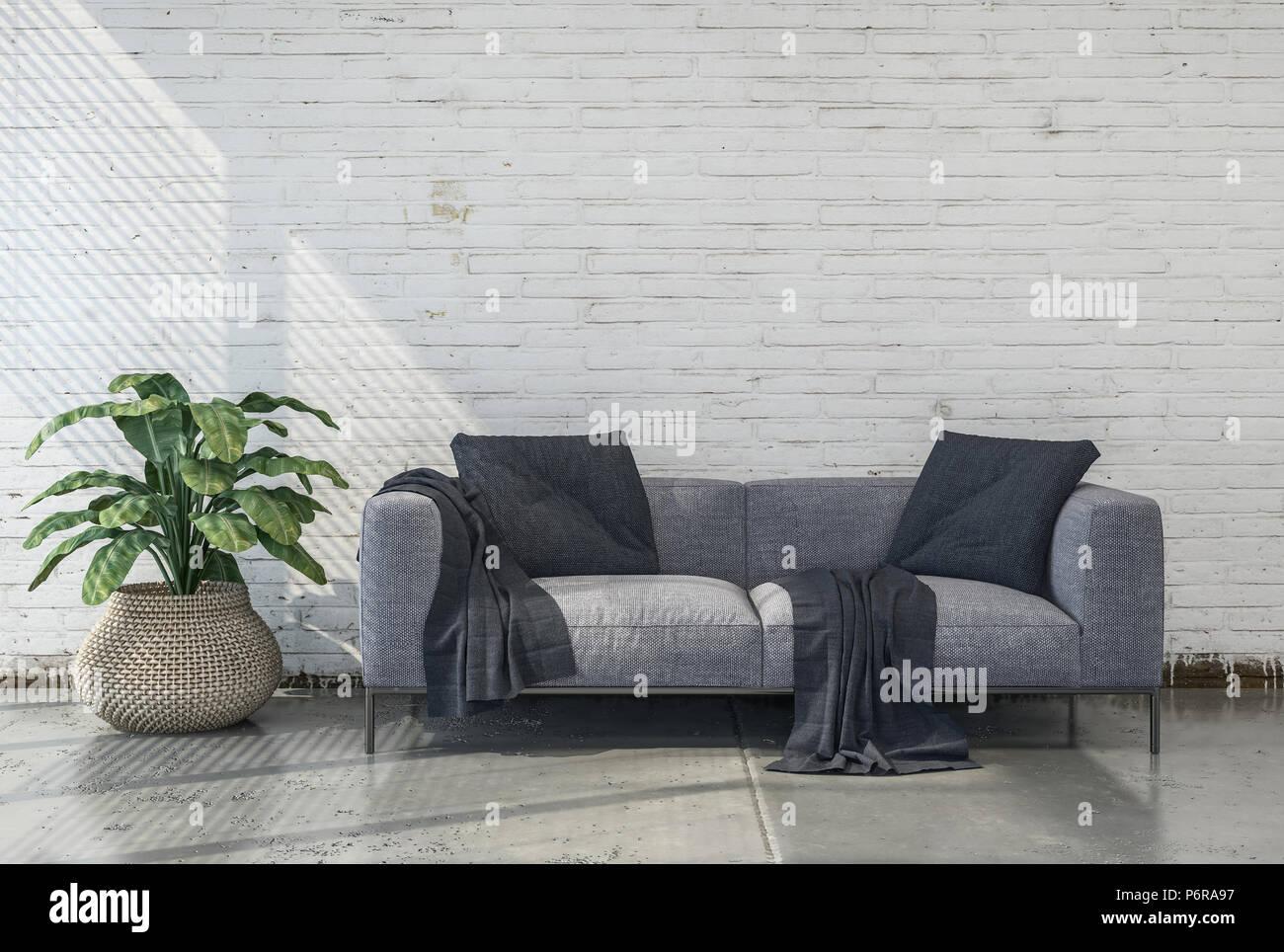 Minimalist Monochromatic Living Room Interior With Grey Sofa