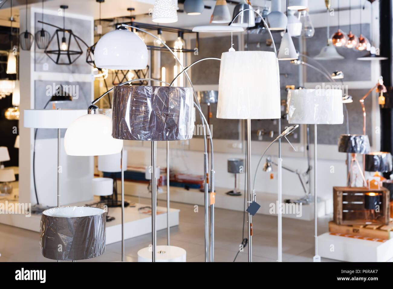 Designer interior lamp with lights in the modern furniture shop