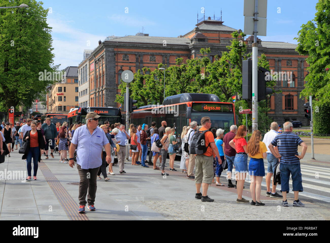 Christies gate (street) in Bergen city centre, Norway - Stock Image