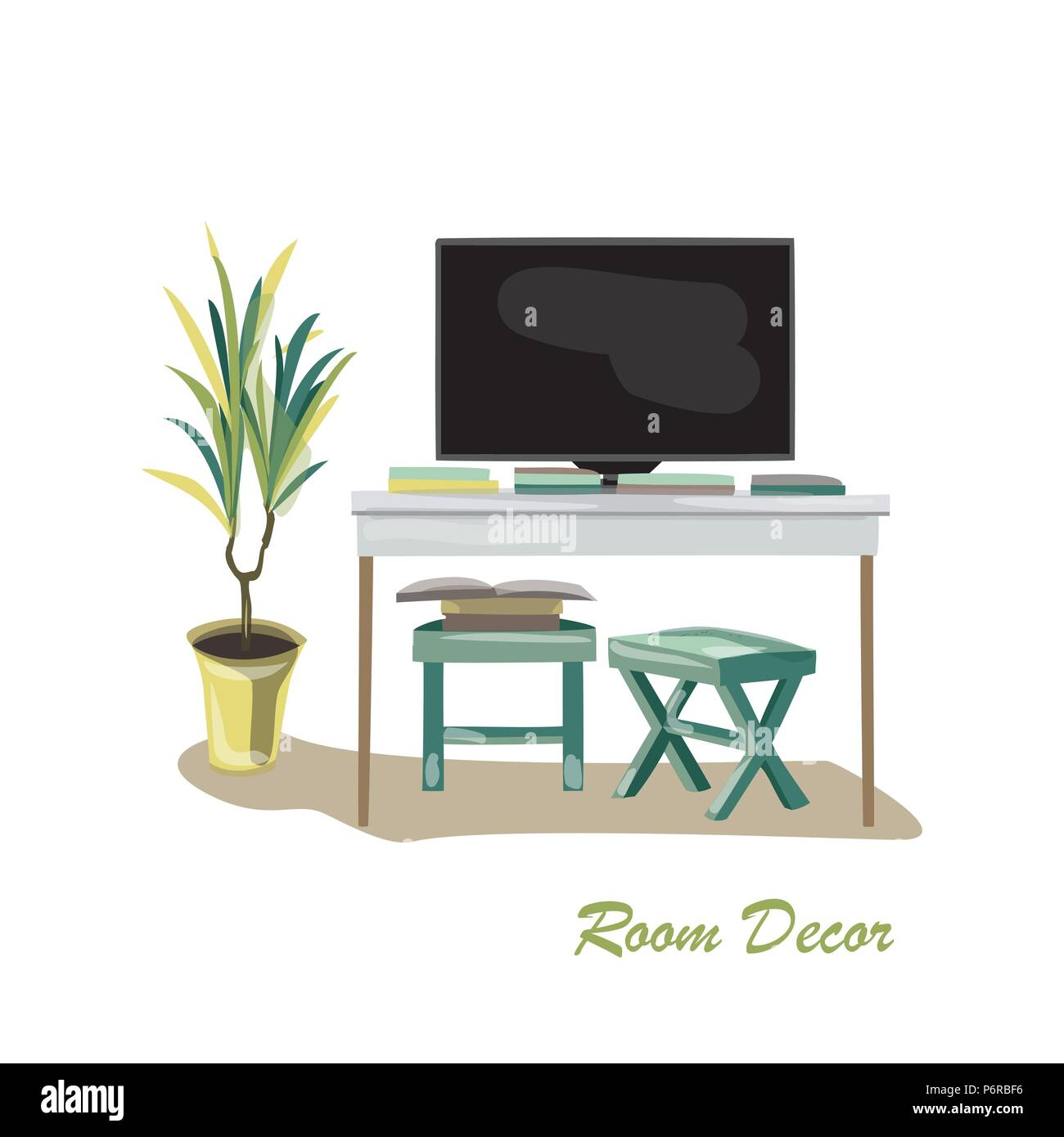 Interior design illustration sketch flat. Modern elements living room trendy style. Home house decoration. Table TV unit chair stool books magazines p - Stock Vector