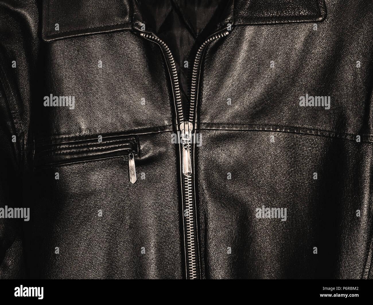 black leather jacket, closeup - Stock Image