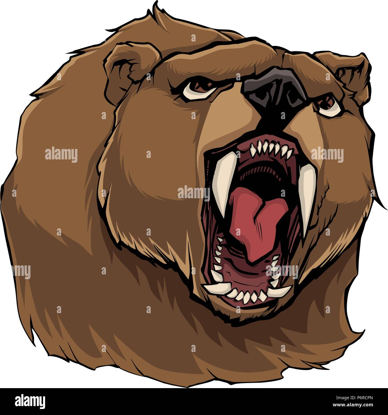 Angry Bear on White - Stock Vector