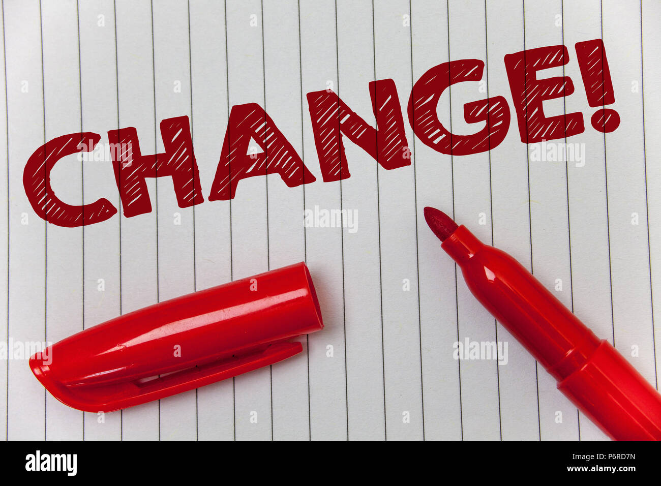 Text sign showing Change Call. Conceptual photo Alteration Adjustment Diversion Revision Transition Modification Ideas message notebook paper open mar - Stock Image