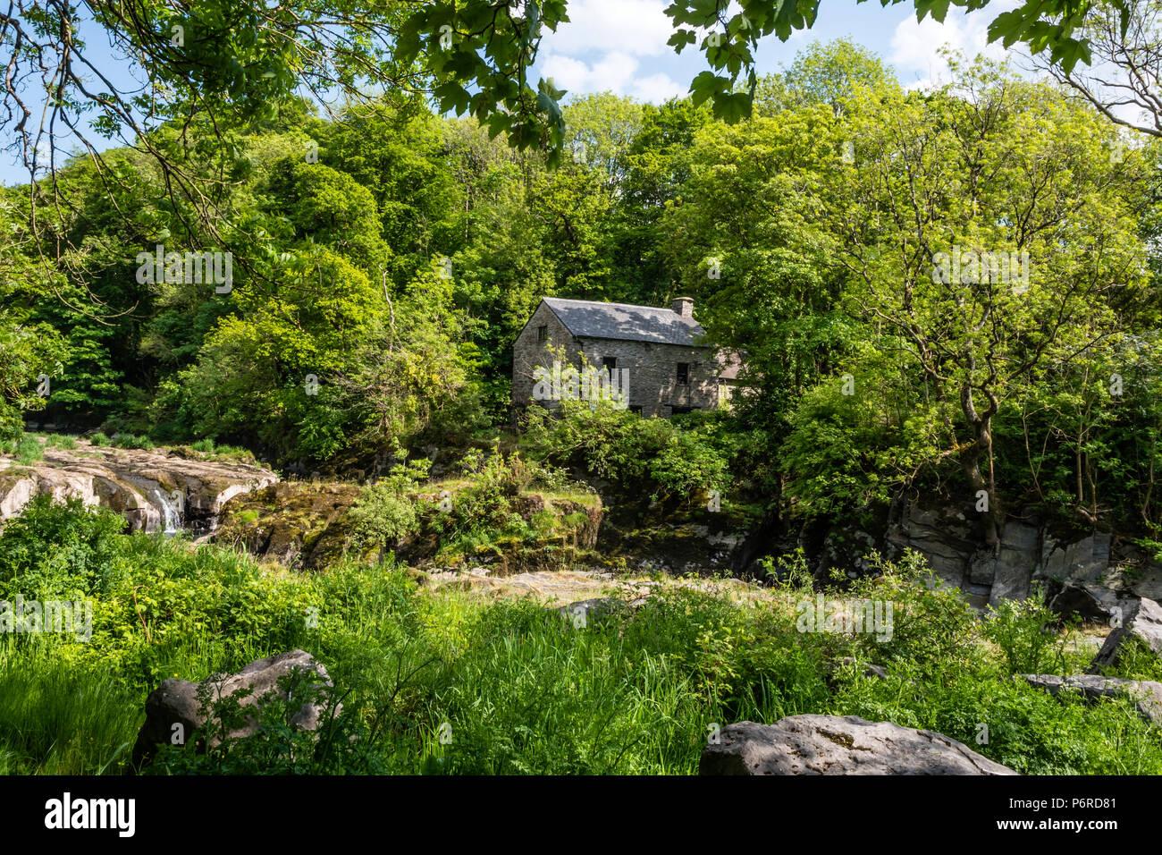 Cenarth Waterfalls & Mill Carmarthenshire Wales Stock Photo