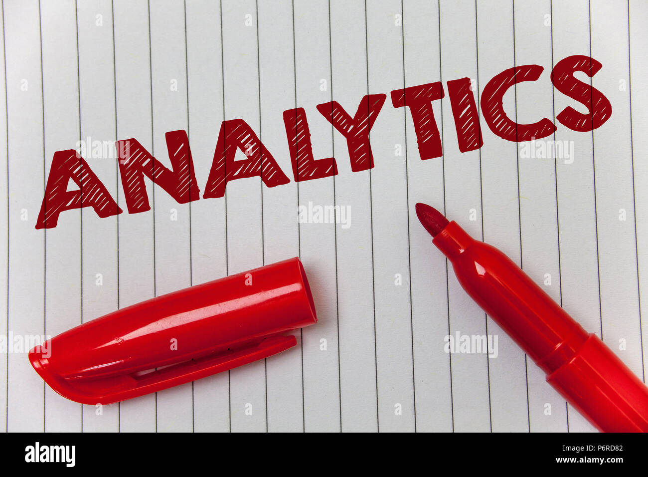 Text sign showing Analytics. Conceptual photo Data Analysis Financial Information Statistics Report Dashboard Ideas message notebook paper open marker Stock Photo