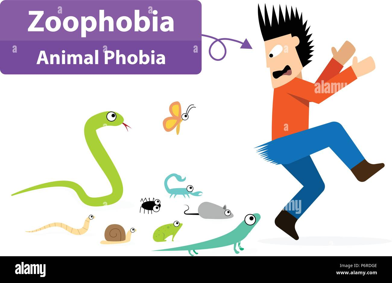 Zoophobia man shocked when see the animals, vector art Stock Vector