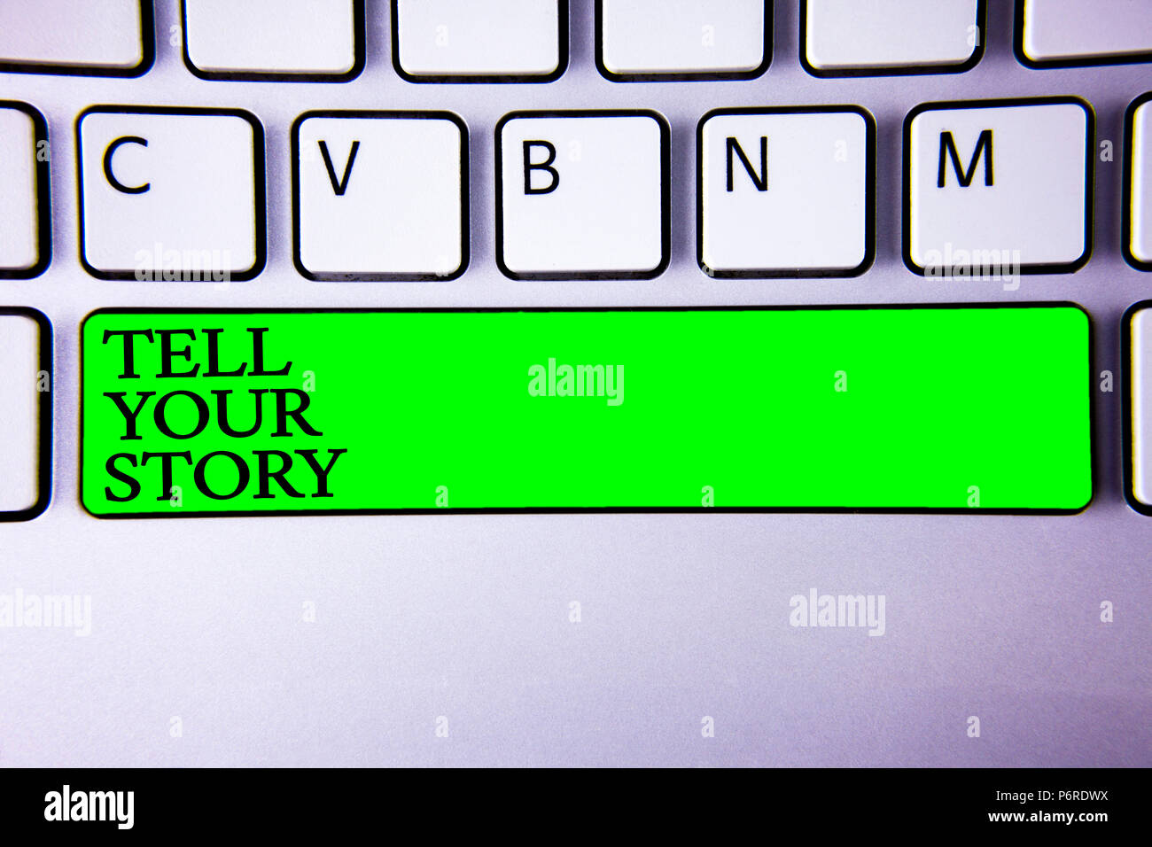 Conceptual hand writing showing Tell Your Story. Business photo showcasing expressing your feelings Narrating writing your biography Spacebar laptop k - Stock Image