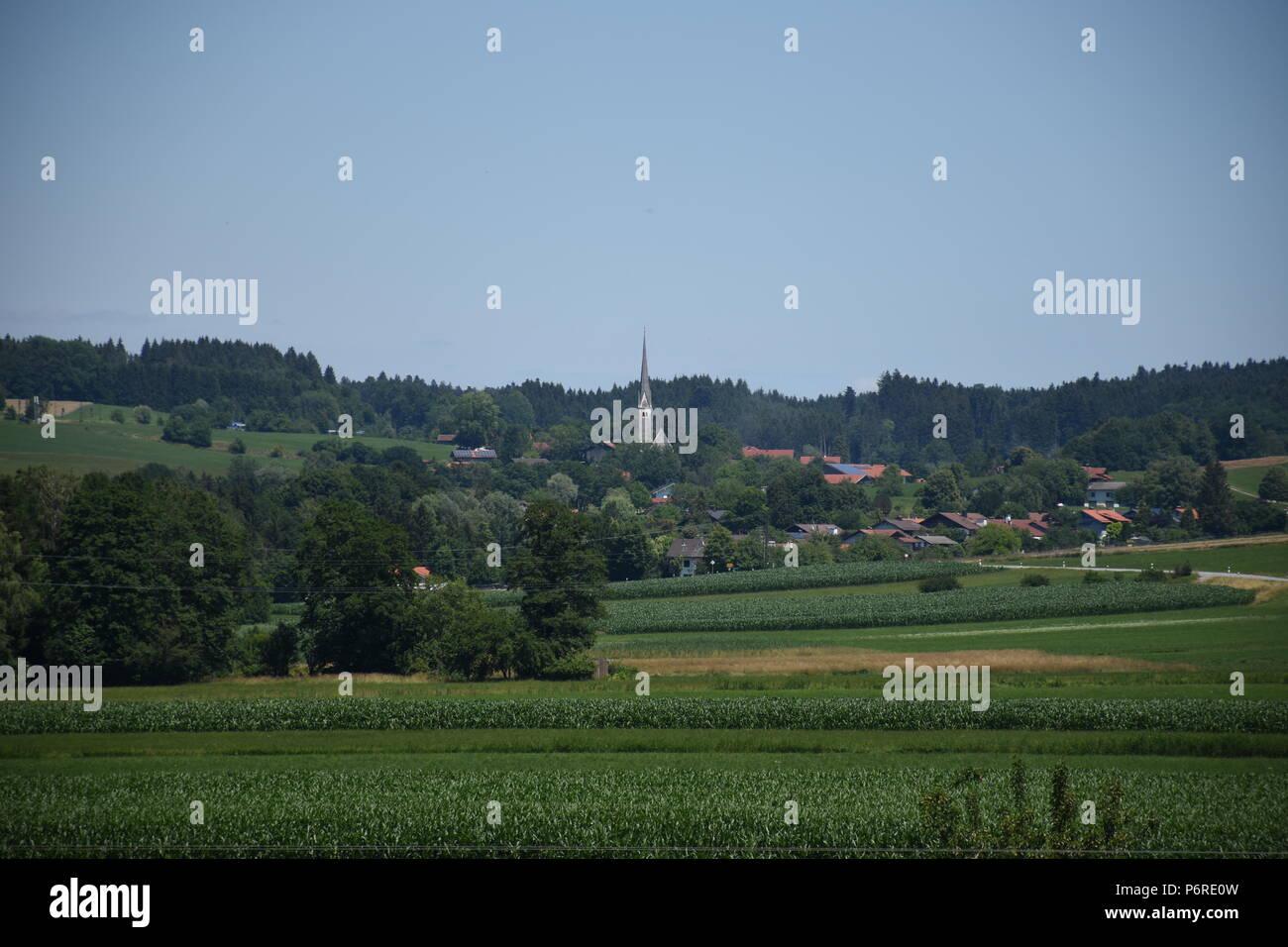 Landschaft bei Bad Endorf Chiemgau Stock Photo