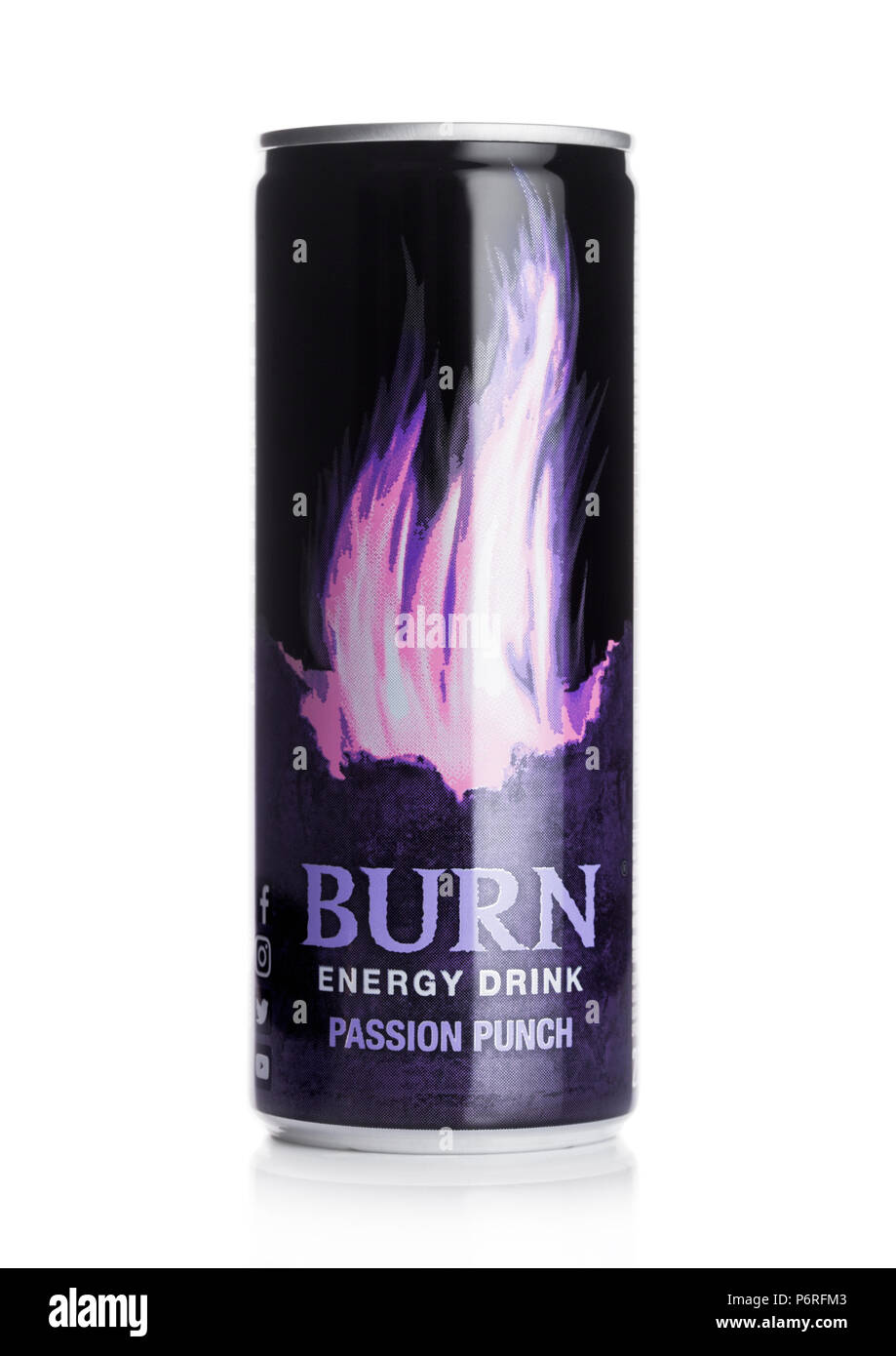 LONDON, UK - JUNE 30, 2018: Can of Burn Energy Drink Original on white background. Burn energy is made for keeping eyes open and mind sharp. - Stock Image