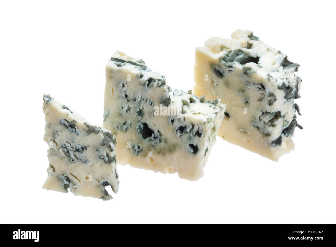 Danish blue cheese isolated on white background with clipping path - Stock Image