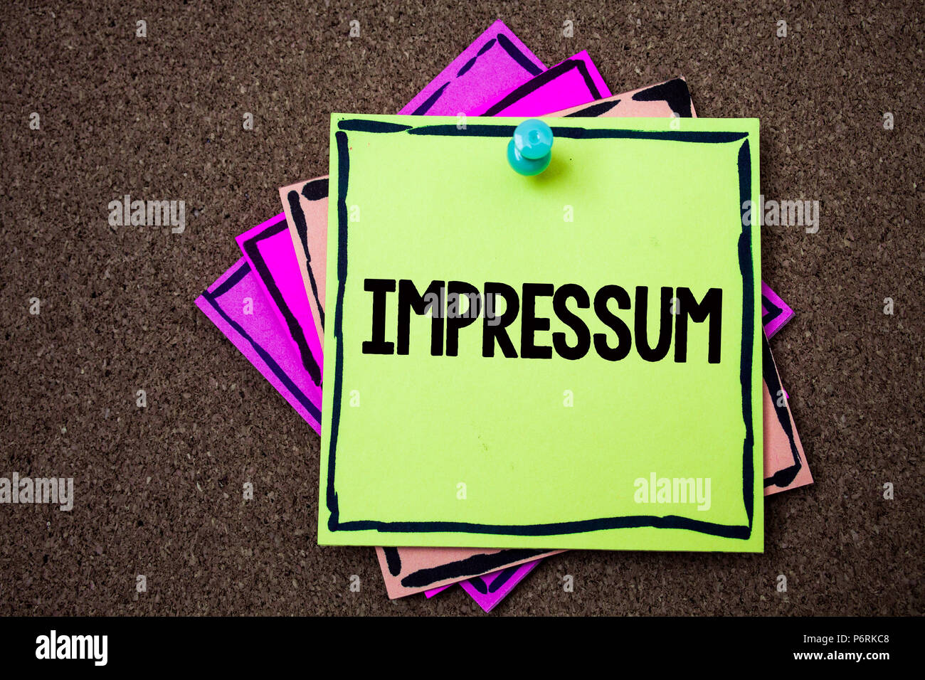 Writing note showing  Impressum. Business photo showcasing Impressed Engraved Imprint German statement ownership authorship Papers ideas messages to d - Stock Image