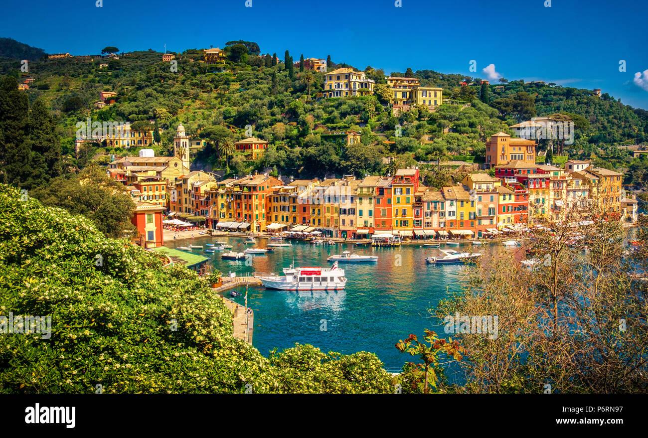 Portofino picturesque ligurian colourful town - Genoa - Italy - Stock Image