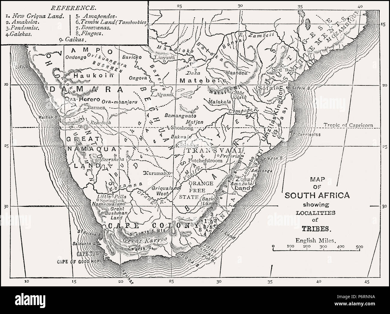 Historical ethnological map of South Africa, 19th century, From British Battles on Land and Sea, by James Grant - Stock Image