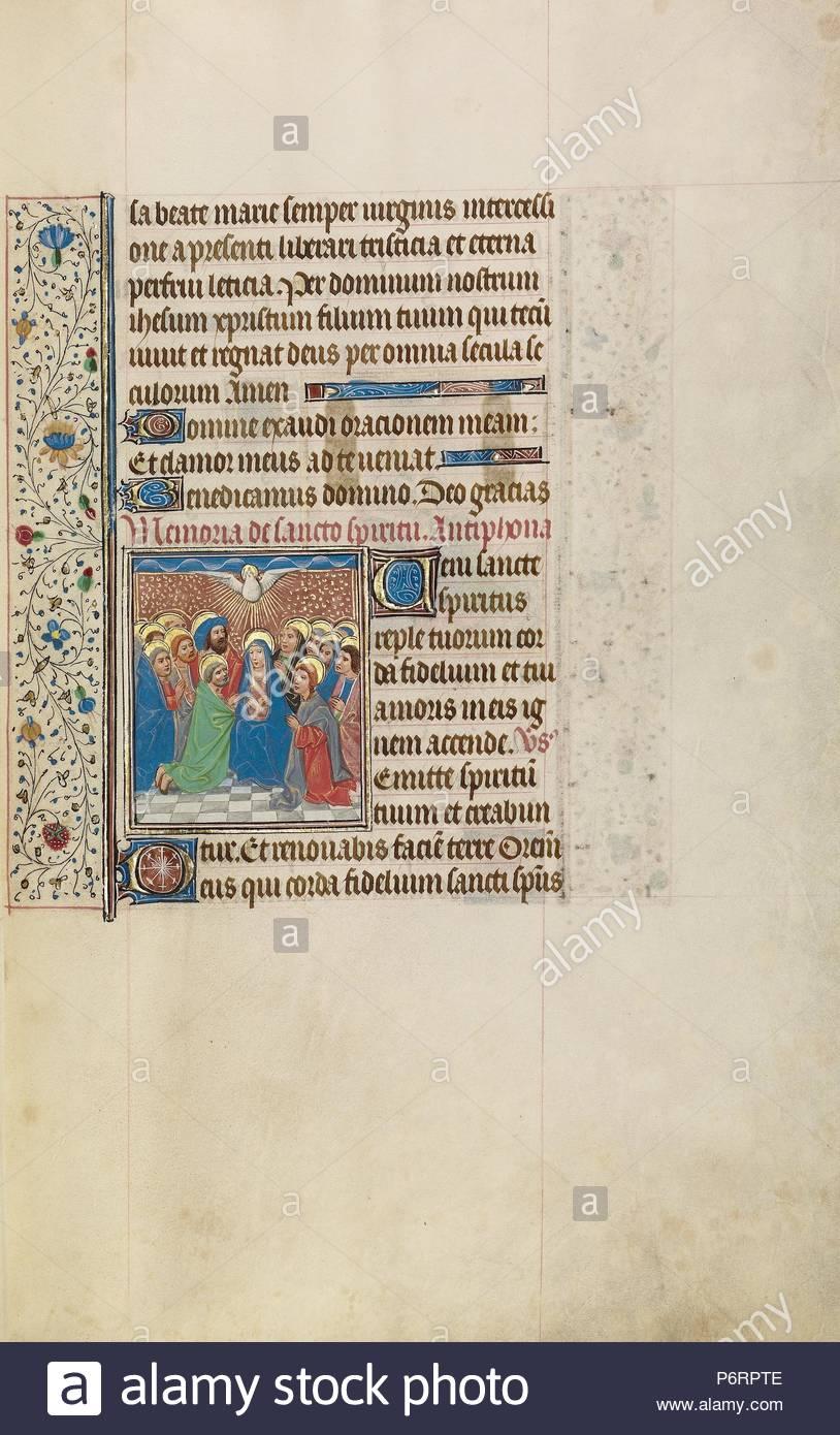 Pentecost; Workshop of Willem Vrelant, Flemish, died 1481, active 1454 -  1481; Bruges, Belgium, Europe; early 1460s; Tempera colors, gold leaf, ...